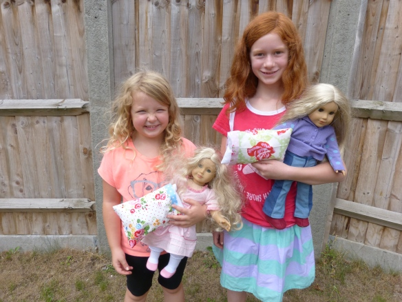 London and Cora with their Doll Pillows