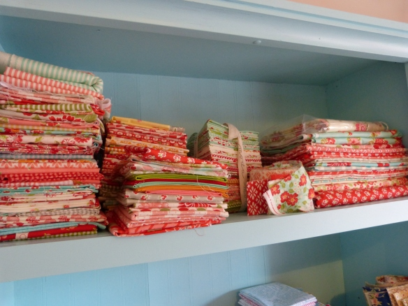 Show me your quilt fabric stash --Bonnie and Camille shelf